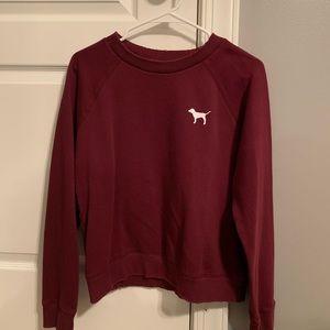 PINK Maroon Crew Neck Sweatshirt